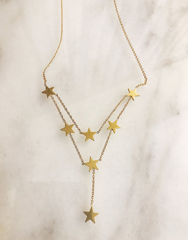 Stars double layer necklace in gold