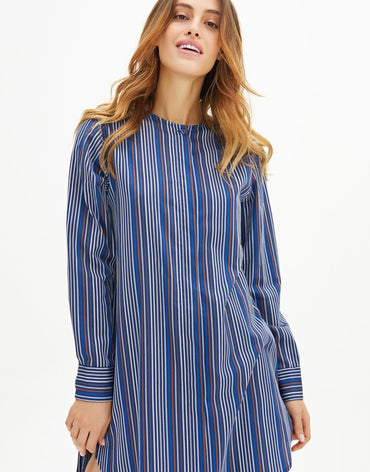Zero Neck Stripped Shirt - Haute Elan