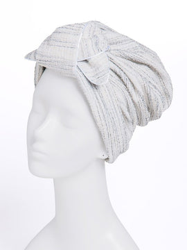 TWEED RIBBON TURBAN WHITE