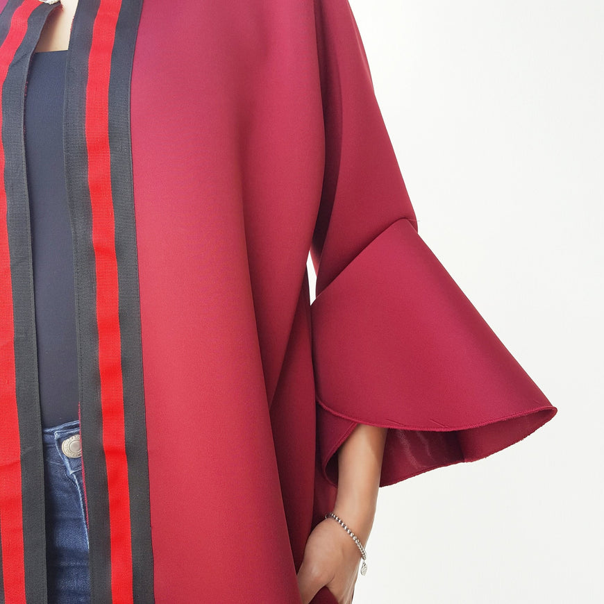 Qabeela Deep Red Sportsluxe 17 Abaya with Metal Detailing (1)