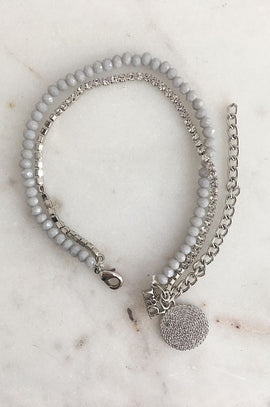 RAD Grey Beaded Bracelet with Diamante Detail