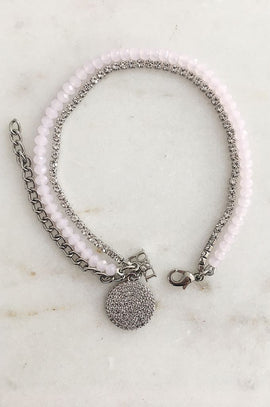 RAD Pink Beaded Bracelet with Diamante Detail
