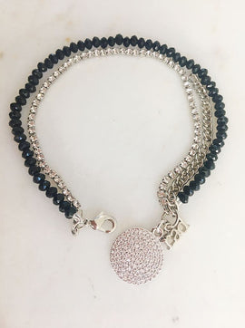 RAD Black Beaded Bracelet with Diamante Detail