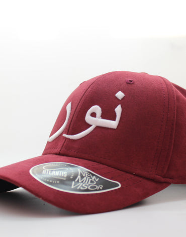 White on Red Suede Arabic Cap - Noor/Light