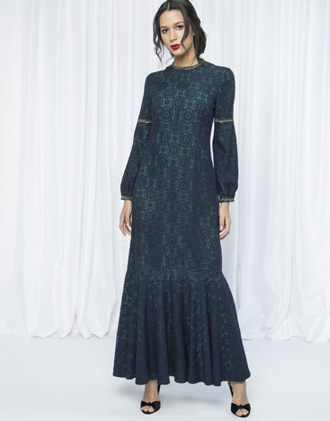 LACE & BROCADE MAXI DRESS - Haute Elan