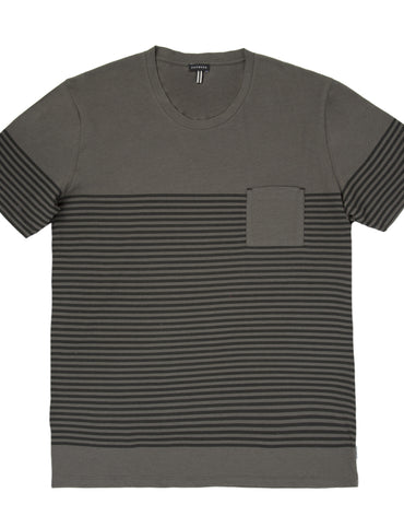 Super Light Weight Cotton Jersey Scoop Neck T-shirt With Stripe Print - Haute Elan