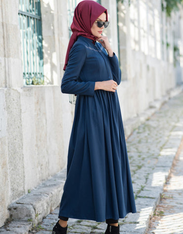 Abaci Embroidered Indigo Topcoat