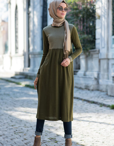 Abacı Green-Cream Stripped Knitwear Tunic