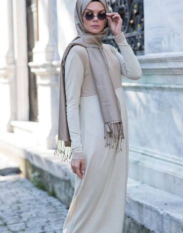Abacı Beige-Orange Stripped Knitwear Tunic