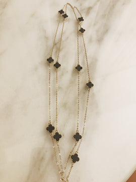Silver with black clover detail double length necklace