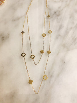 Gold clover detail layered necklace