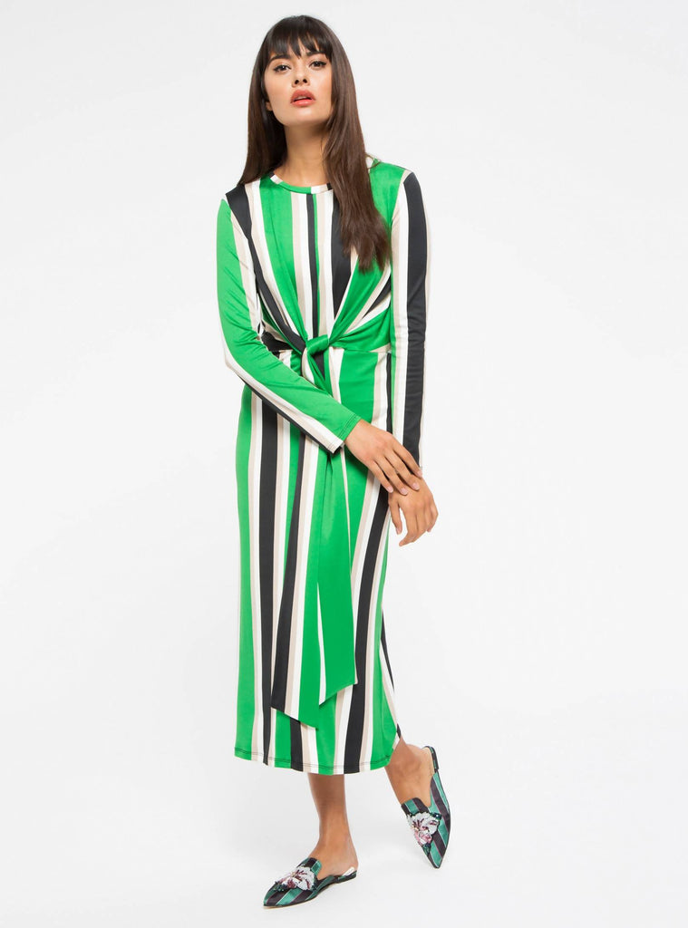 Green Tie Front Stripe Midi Dress