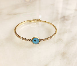 Diamond gold bracelet with blue circle detail