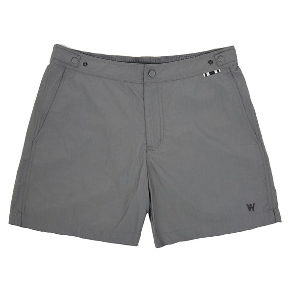 Mid-length Flat-front Nylon Swim Short With Embroidered W Logo