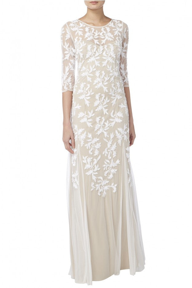 EMBROIDERED BRIDAL GOWN WITH NUDE LINNING - Haute Elan