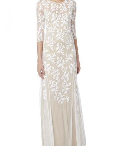 EMBROIDERED BRIDAL GOWN WITH NUDE LINNING