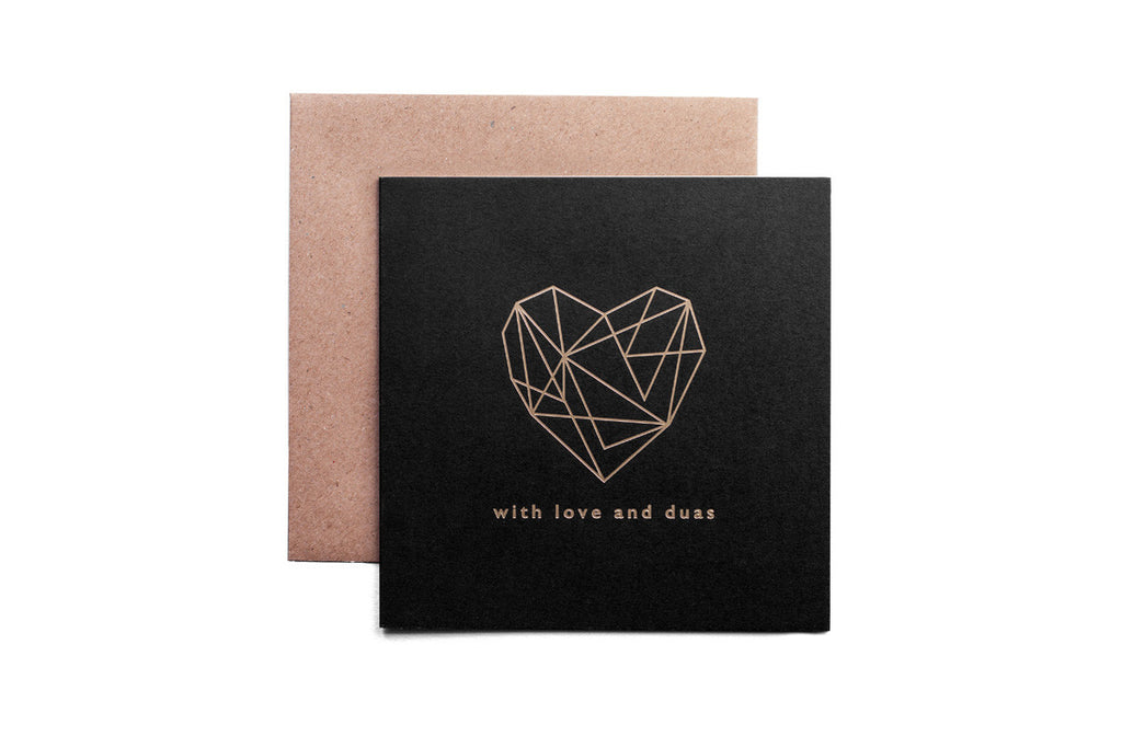 With love and duas greeting card (Mono collection - Raven Black)