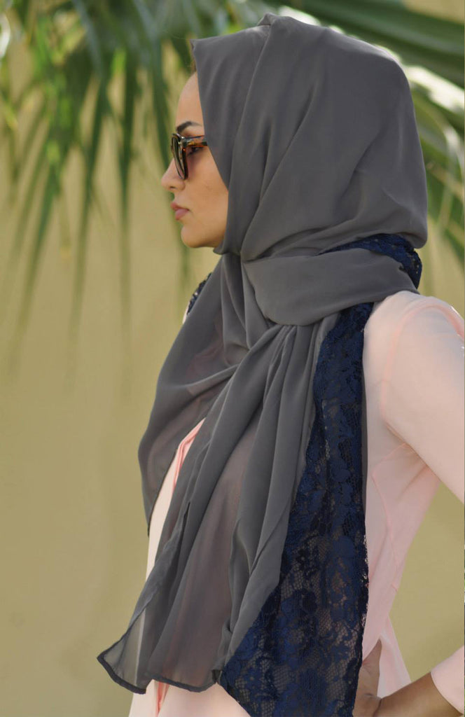 Grey Scarf with Navy Lace
