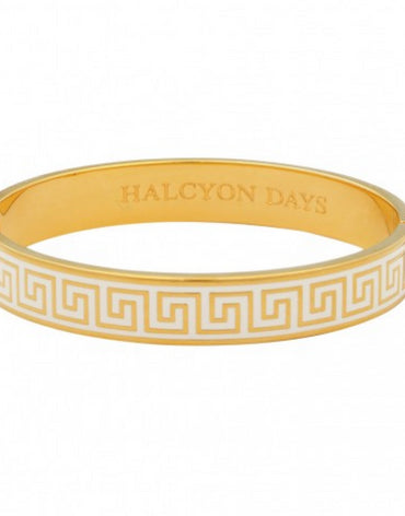 GREEK KEY CREAM & GOLD BANGLE