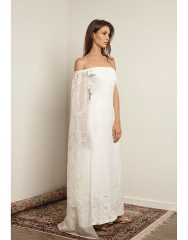 Off Shoulder White Cape Kaftan