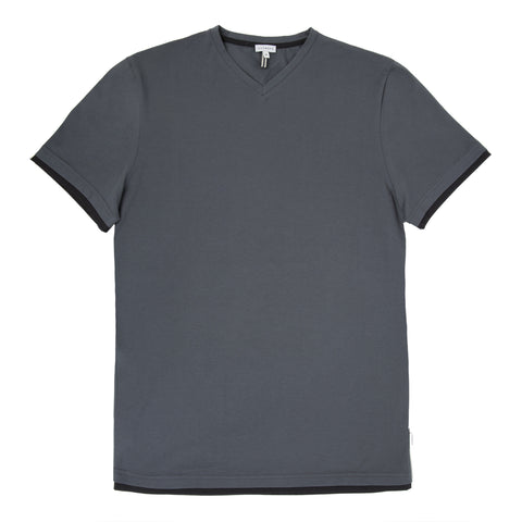 V-neck Luxe Cotton Jersey T-shirt With B-color Detail