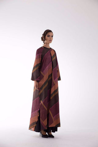 Rose Cape Brown/Burgundy Kaftan