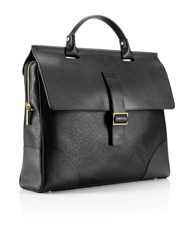 """Milano"" Leather Briefcase - Haute Elan"