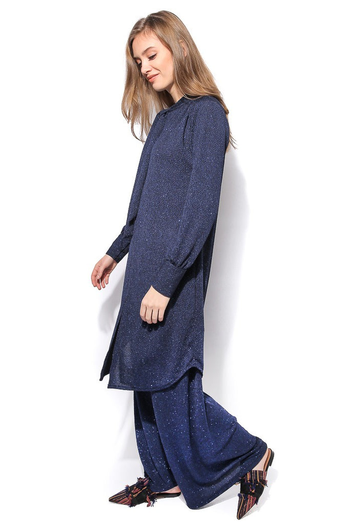Bow-tie Knit Tunic - Blue