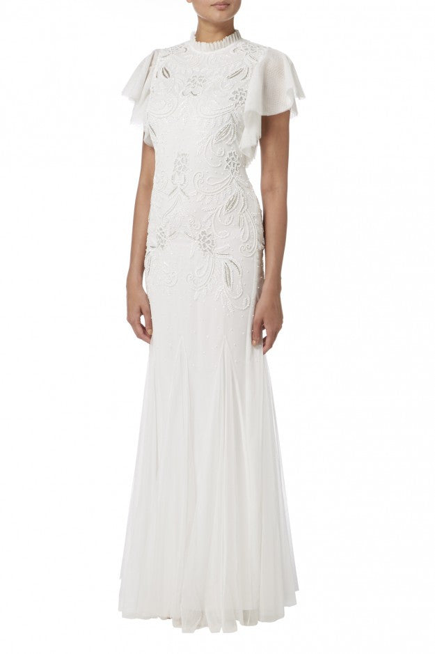 WHITE EMBELLISHED FRILL GOWN
