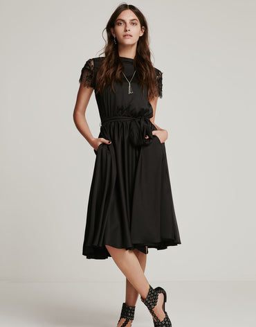 Black Lace Midi Dress - Haute Elan