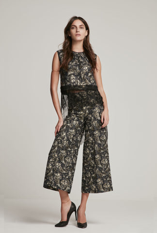 Brocade Top & Capri Pants (Full Set)