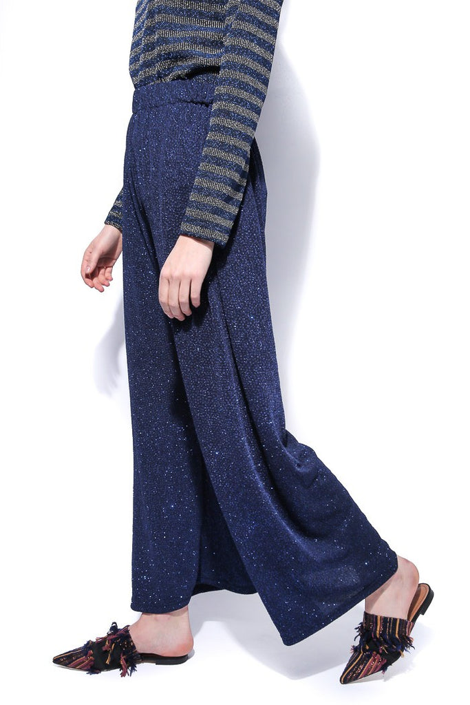 Shimmer Knit Trousers - Blue