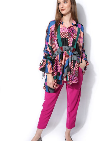 Gathered Waist Top - Multicolor