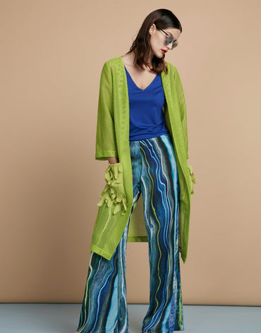 Long Net Cardigan & Wide-Leg Printed Trousers