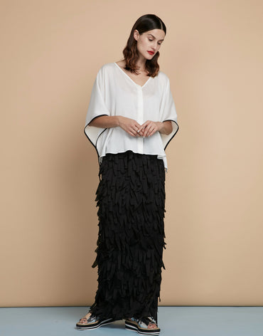 White Kaftan Top & Frilled Black Maxi Skirt - Haute Elan