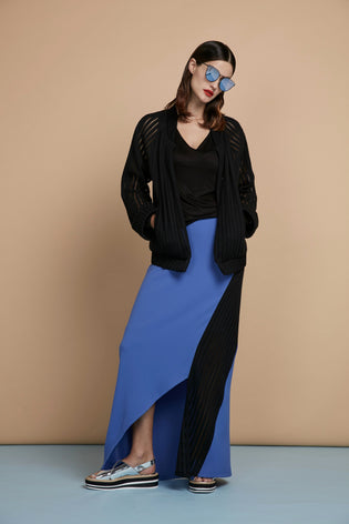 Black Bomber Jacket & Asymmetric High-Low Maxi Skirt