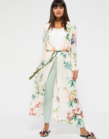 Floral Kimono with Tassel Belt
