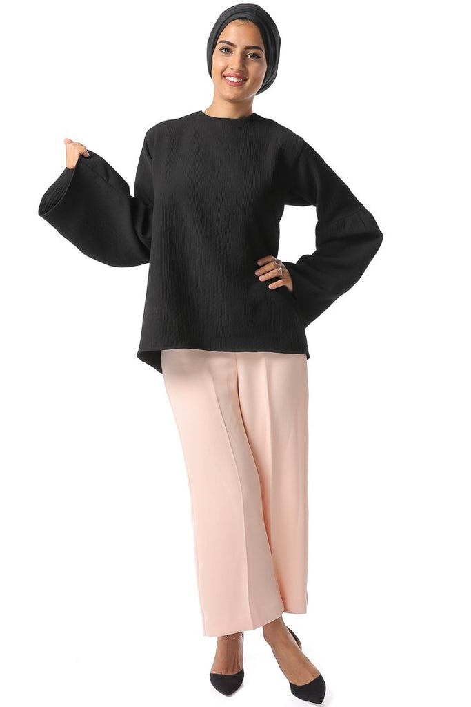 Bell-Sleeve Pattern Top - Black