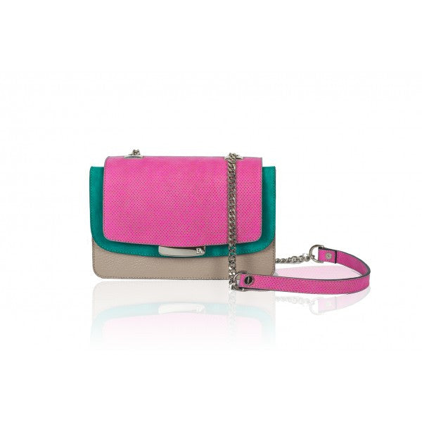 Fuchsia and Greige Mini Jackie O Shoulder Bag