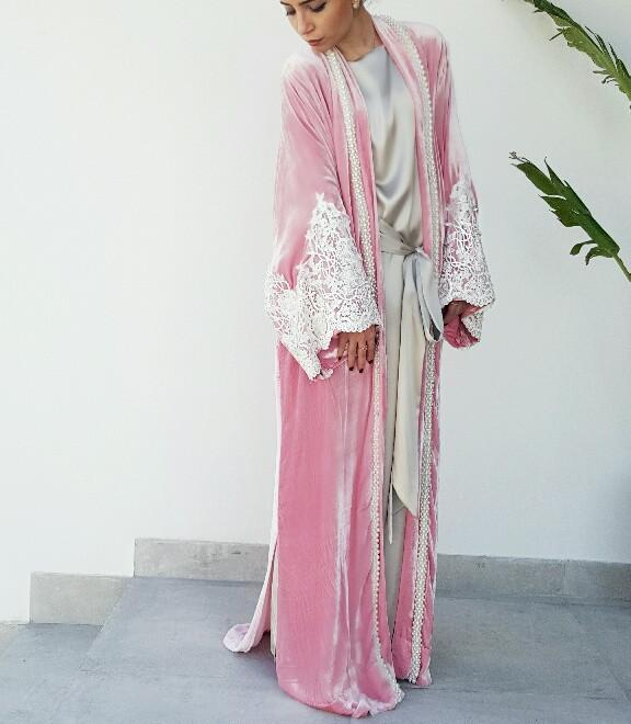 Candy Pink Silk Velvet Wedding Abaya with Pearls & Lace - Haute Elan
