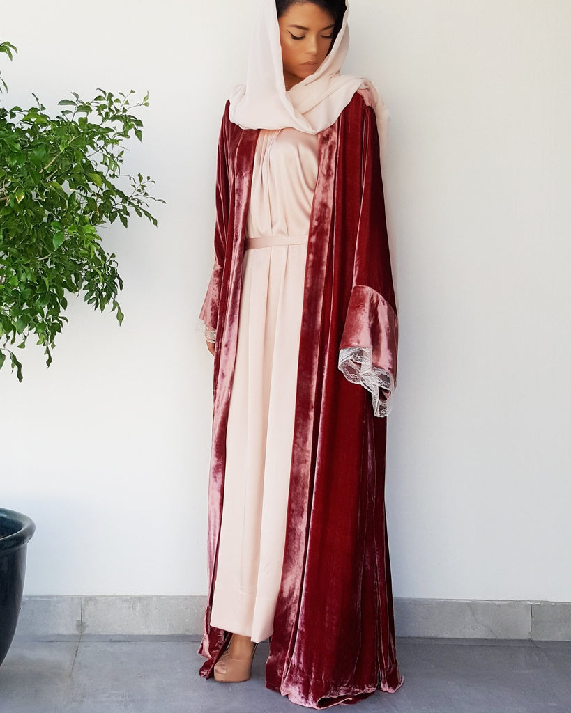 Deep Peach Silk  Velvet Abaya with Vintage Lace - Haute Elan