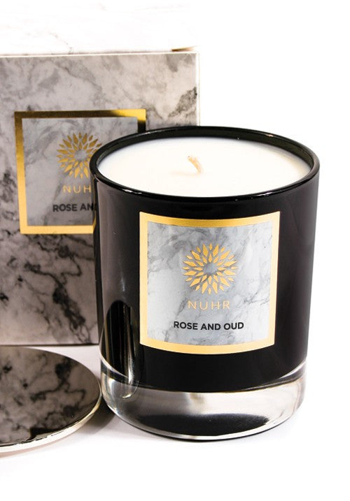 DELUXE ROSE & OUD SCENTED CANDLE - Haute Elan