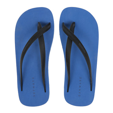 Bicolored Mid-blue and Black, Cross Toe Luxe Flip Flop - Haute Elan