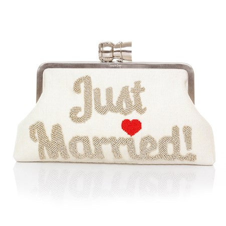 Champagne Just Married Ivory Classic Clutch