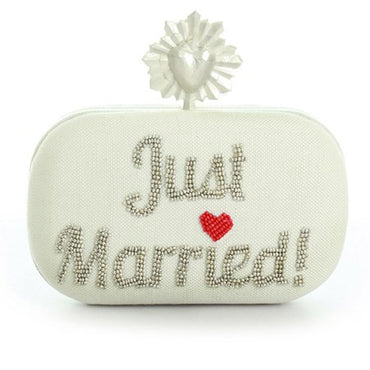 Celeste Just Married Ivory Box Clutch