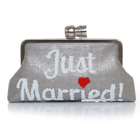 Champagne Just Married Silver Classic Clutch - Haute Elan
