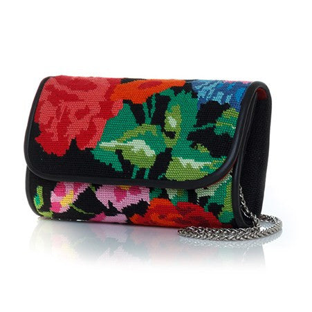 Flowers Canvas Black Mini Clutch