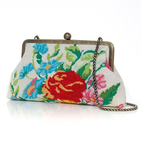 Flowers White Canvas Classic Clutch