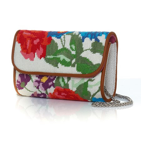 Flowers Canvas White Mini Clutch