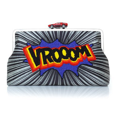 Vroom Grey Beaded Clutch Me - Haute Elan